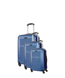 3pc Basildon blue spinner suitcase set
