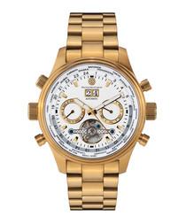 Globe Trotter gold-tone steel watch