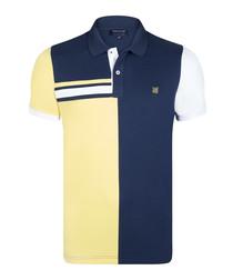 Navy & yellow pure cotton polo shirt