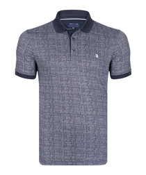 Navy cotton blend patterned polo shirt