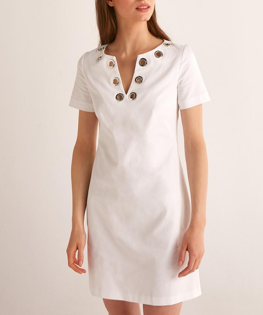 White cotton embellished V-neck dress Sale - Rodier