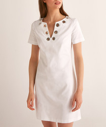 White cotton embellished V-neck dress