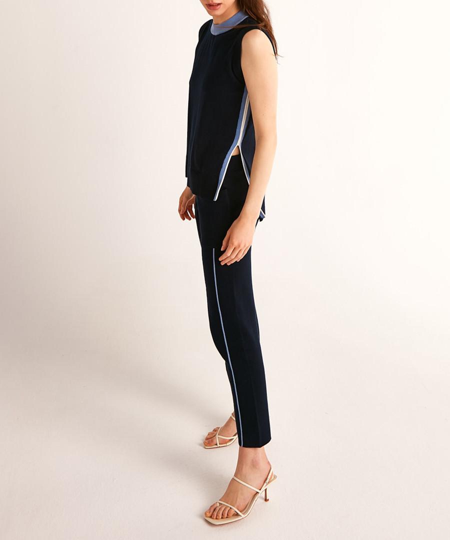 Navy & blue cotton split side jumper Sale - Rodier