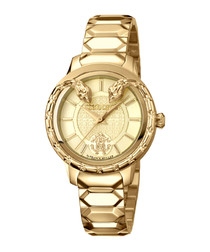 Gold-tone twin serpent bezel watch