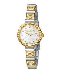 Dual-tone mother-of-pearl watch