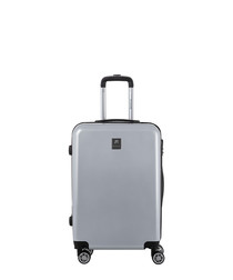 Hermes silver-tone spinner suitcase 65cm
