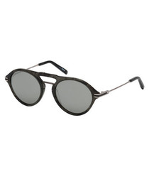 Grey rounded double-bridge sunglasses