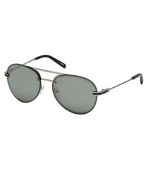 Silver-tone & green lens sunglasses
