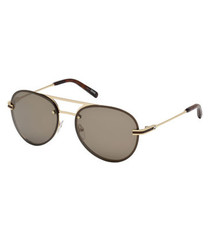 Gold-tone double-bridge sunglasses