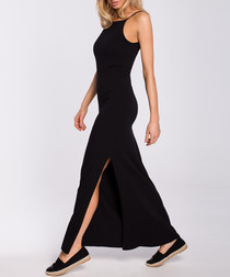 Black side-split maxi dress