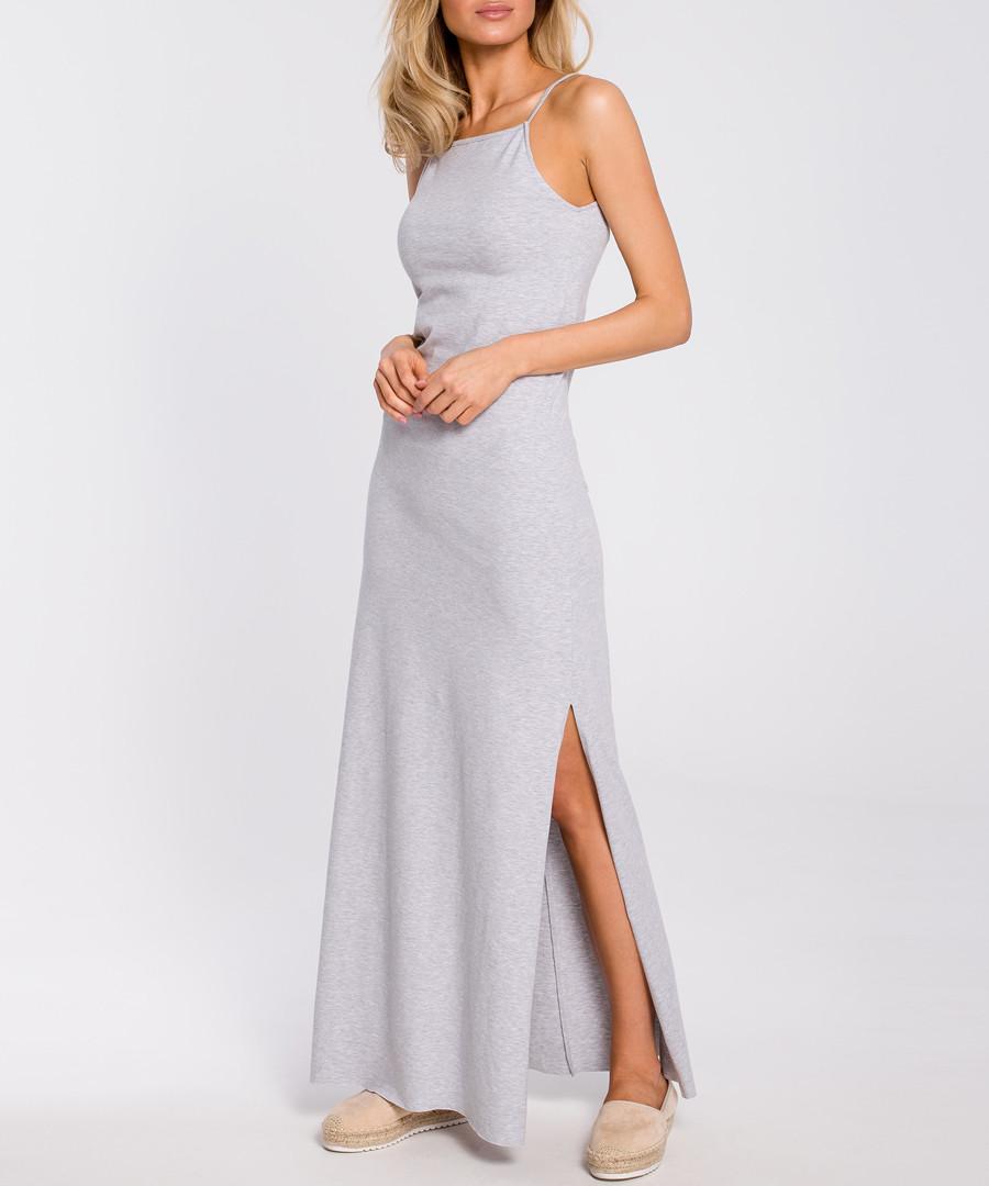 Grey side-split maxi dress Sale - made of emotion