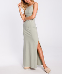 Pistachio side-split maxi dress