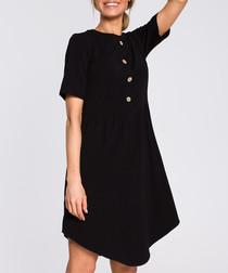 Black button-down mini dress