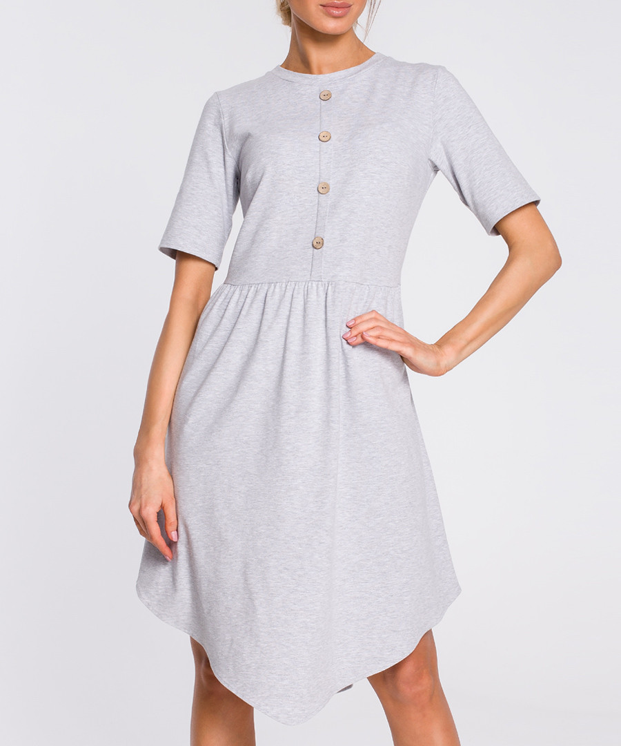 Grey button-down mini dress Sale - made of emotion