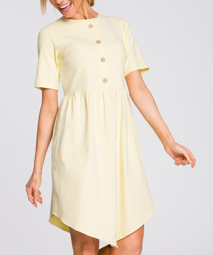 Yellow button-down mini dress Sale - made of emotion