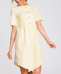 Yellow button-down mini dress