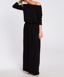 Black off-the-shoulder maxi dress