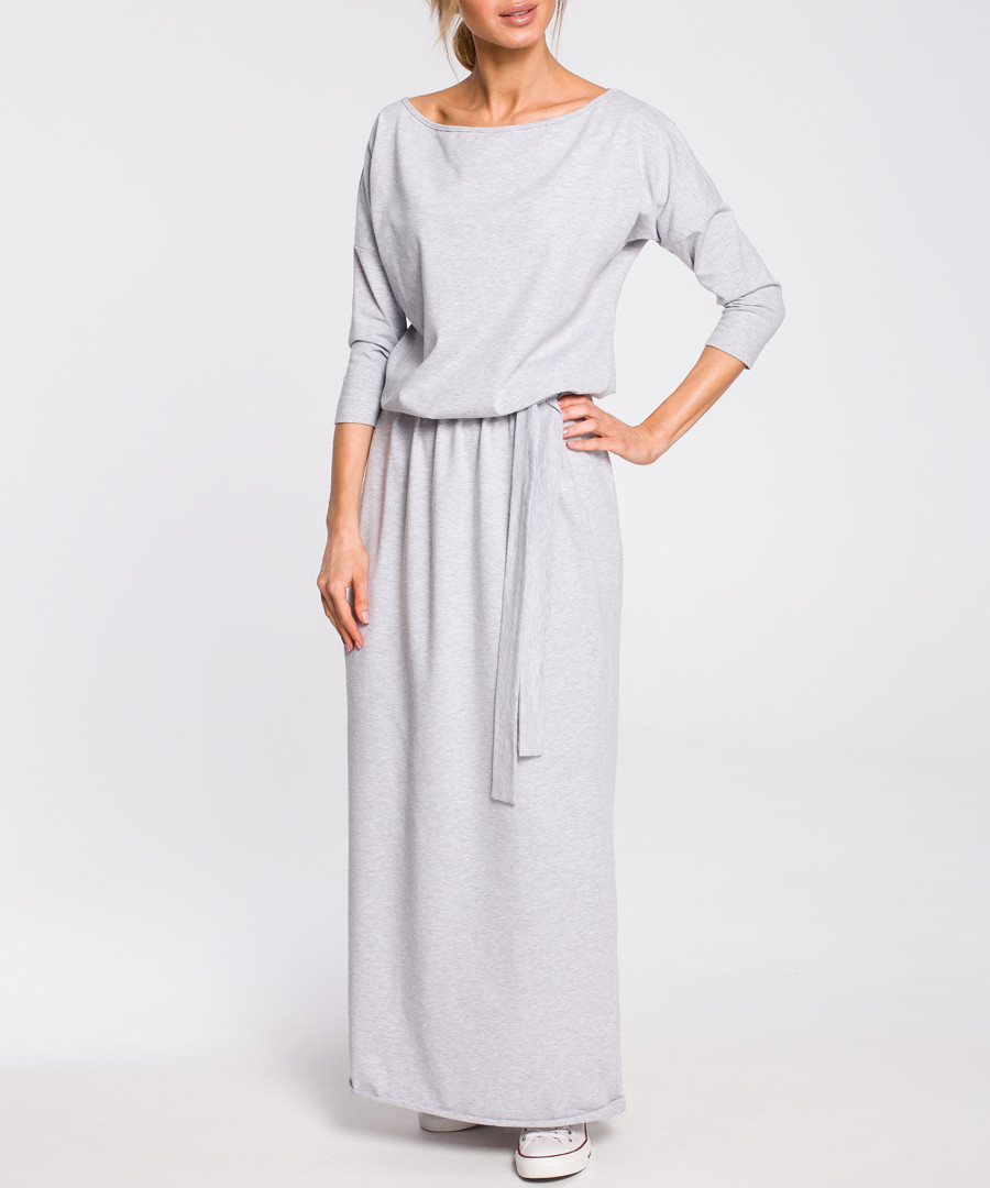 Grey off-the-shoulder maxi dress Sale - made of emotion