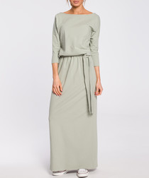 Pistachio off-the-shoulder maxi dress