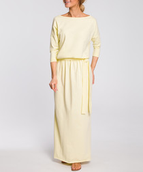 Yellow off-the-shoulder maxi dress