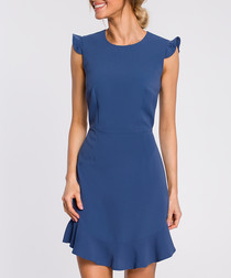 Blue cap sleeve mini dress