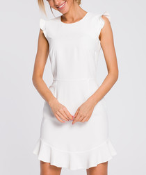 Ecru cap sleeve mini dress