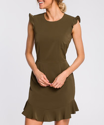 Khaki cap sleeve mini dress