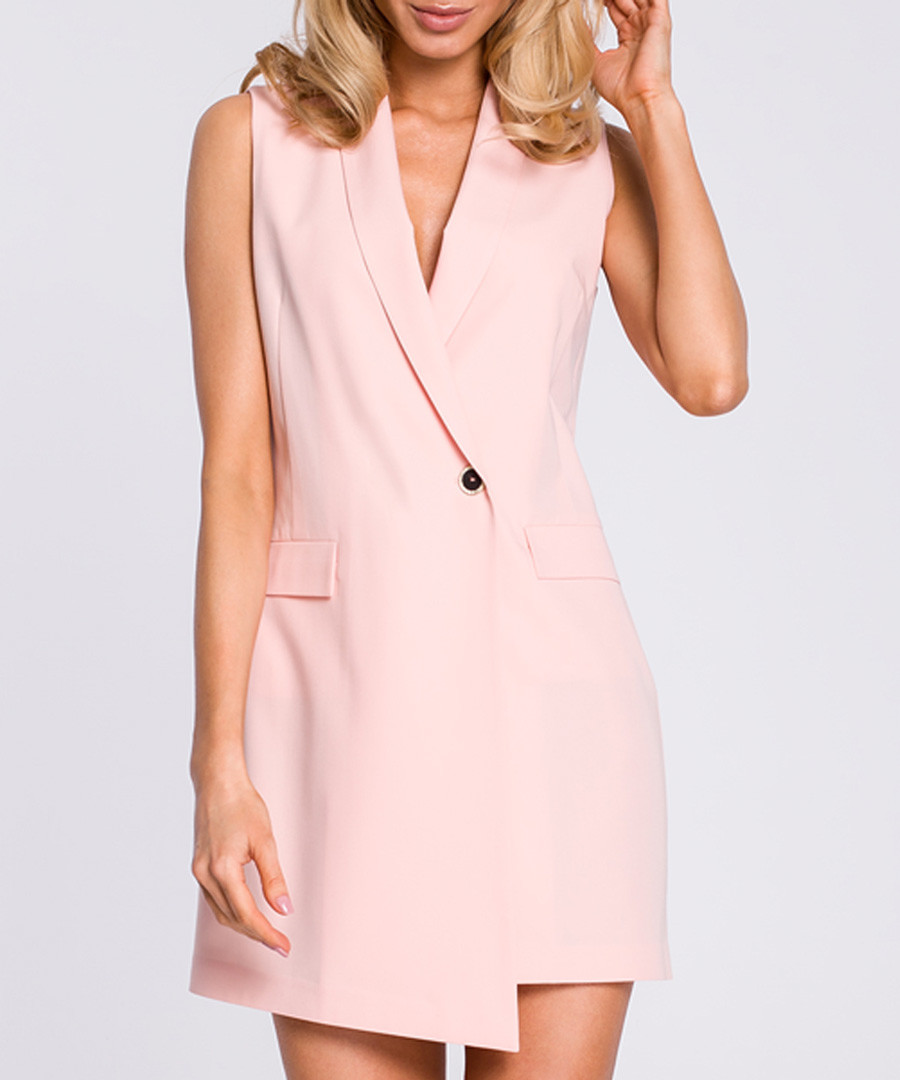 Powder pink tuxedo mini dress Sale - made of emotion