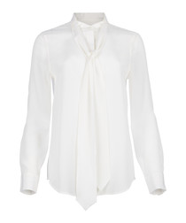 Carleen white pure silk tie blouse