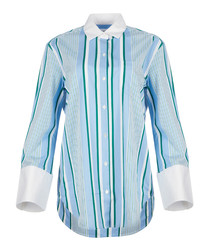Clarke blue pure silk stripe shirt