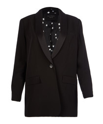 Quincy black wool blend blazer