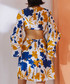 Yellow & blue bell sleeve mini dress Sale - lady queen Sale