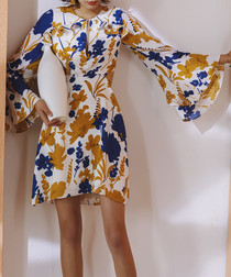 Yellow & blue bell sleeve mini dress