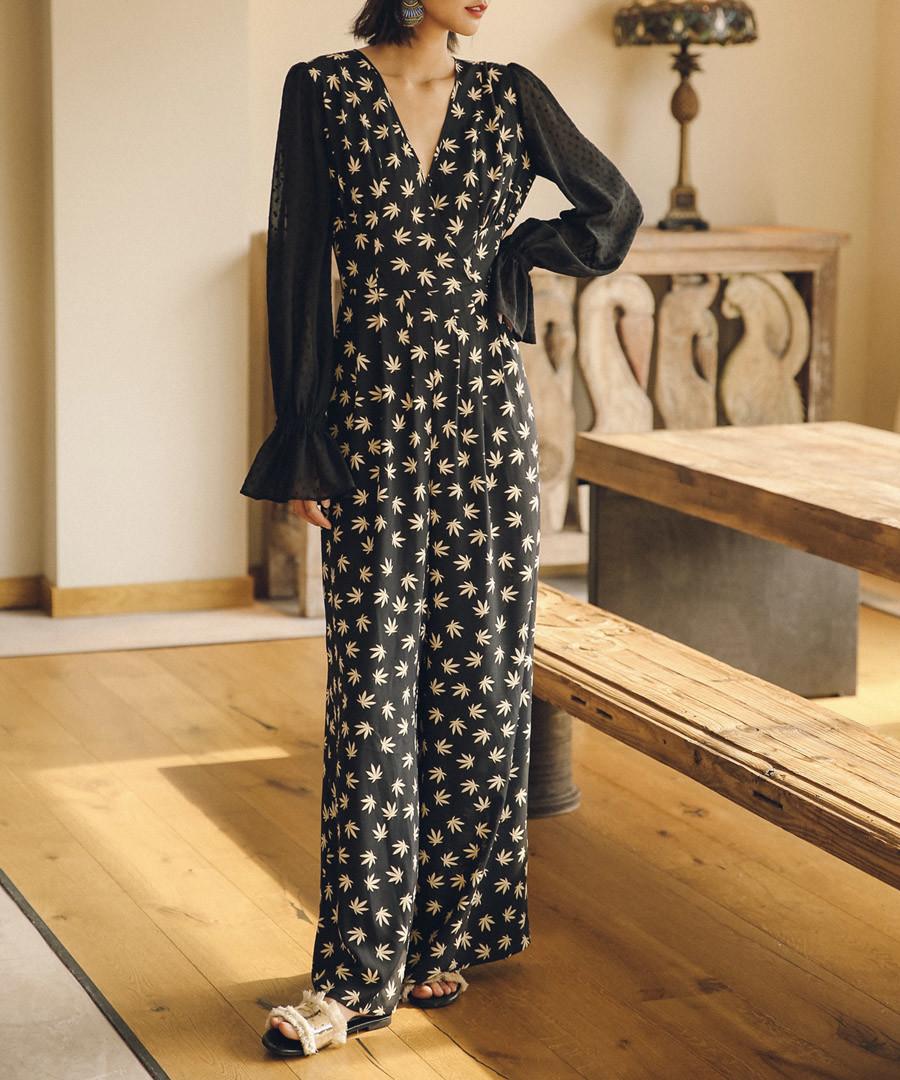 Black leaf print sheer sleeve jumpsuit Sale - lady queen