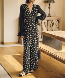 Black leaf print sheer sleeve jumpsuit