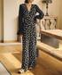 Black leaf print sheer sleeve jumpsuit Sale - lady queen Sale