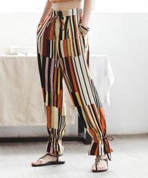Multi-colour stripe ankle tie trousers