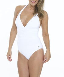 White halterneck swimsuit