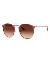 Red & brown double-bridge sunglasses