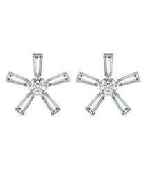 0.20ct baguette diamond flower earrings