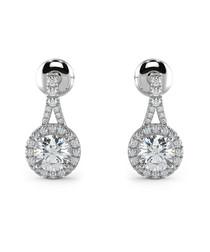 0.80ct round diamond halo earrings