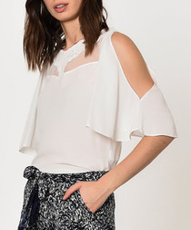 White mesh split sleeve blouse