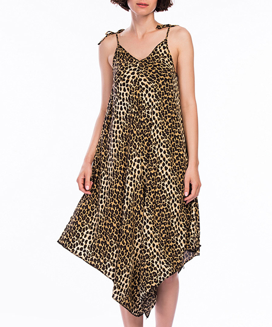 Brown leopard print drape jumpsuit Sale - Dewberry