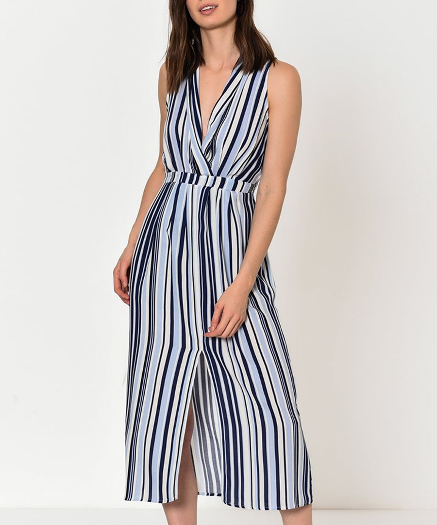 Blue pure cotton stripe midi dress Sale - Dewberry