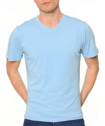 Blue cotton blend T-shirt