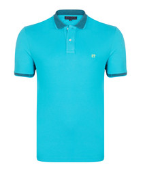 Turquoise pure cotton polo shirt
