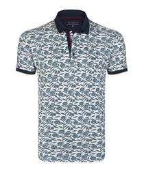 Beige & Navy print cotton polo shirt