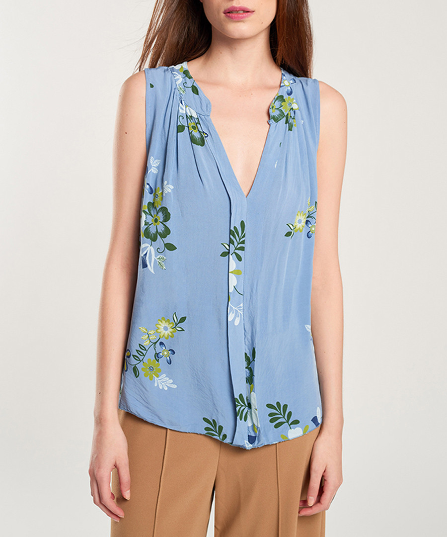 Azure floral sleeveless blouse Sale - dioxide