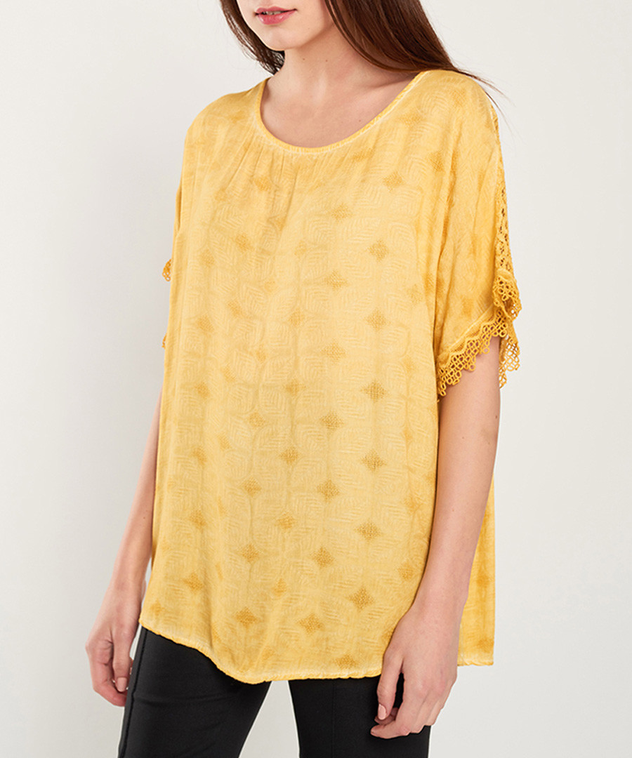 Yellow print scoop neck blouse Sale - dioxide