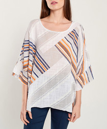 Multi-colour stripe cape sleeve blouse